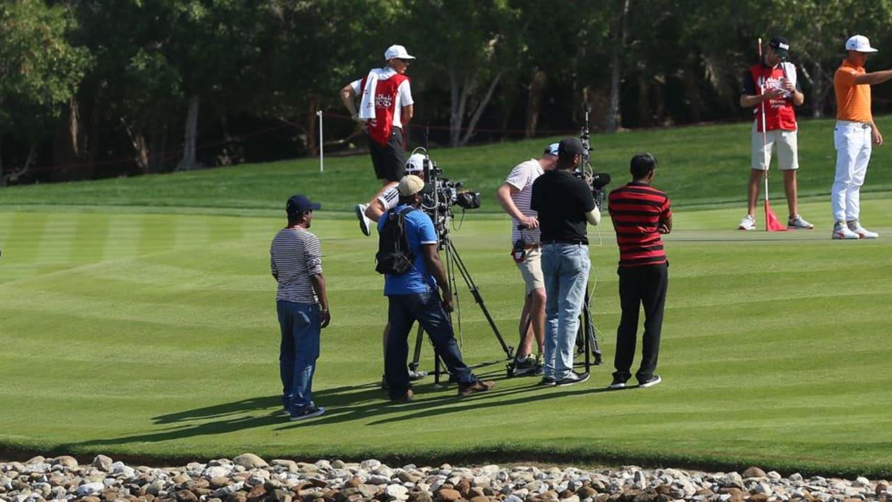 Rickie Fowler in Abu Dhabi: Susanne Claßen hat ihn und seinen Flight am Samstag mit dem Carryboard begleitet. (Foto: Getty)