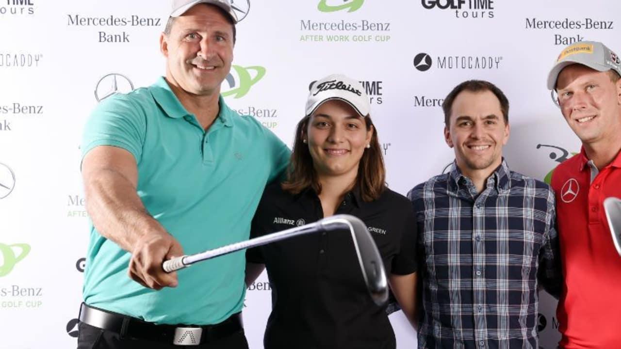 Lars Riedel, Karolin Lampert, Michael Greis und Marcel Siem (v.l.) waren beim Kickoff des After Work Golf Cup in München dabei.
