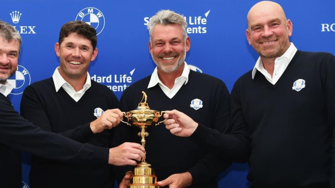 Darren Clarke (2.v.r.) mit seinen Ryder Cup Co-Kapitänen Paul Lawrie (1.v.l.), Padraig Harrington (2.v.l.) und Thomas Björn (1.v.r). (Foto: Getty)