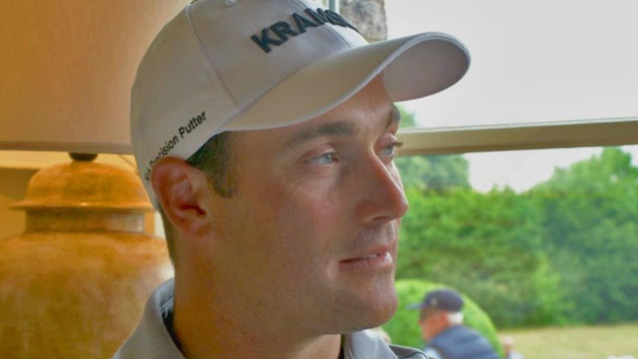 Florian Fritsch sprach mit Golf Post im Clubhaus des Gut Lärchenhof über seine bisherige Saison und lange Reisen im Auto. (Foto: Golf Post)