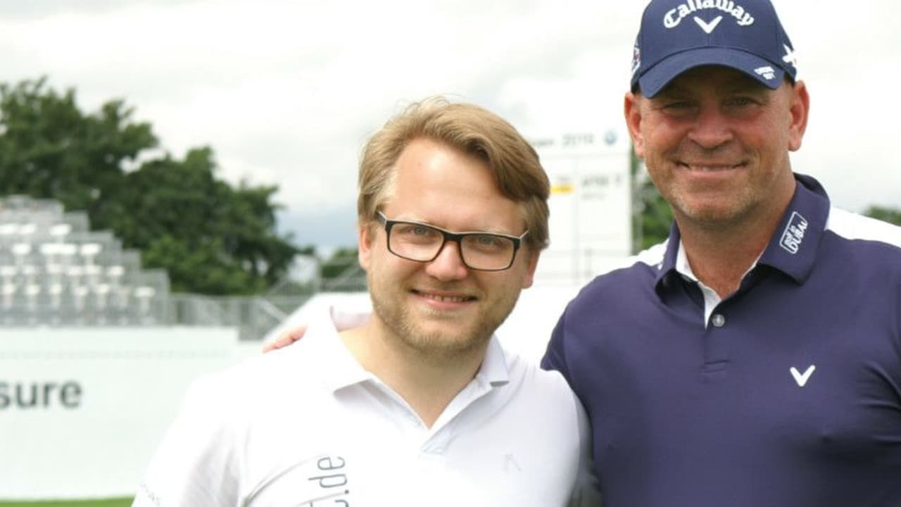Thomas Björn mit Golf-Post-CEO Matthias Gräf beim Pro-Am der BMW International Open. (Foto: Golf Post)