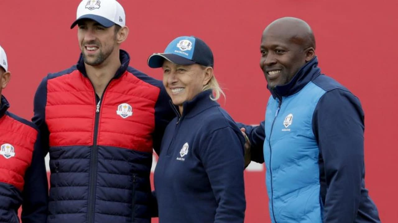Kelly Slater, Michael Phelps vom Team USA mit Martina Navratilova und John Regis vom Team Europa (v.l.). (Foto: Getty)