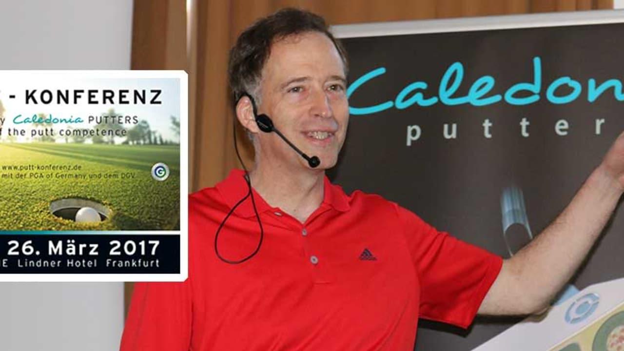 Bestseller Autor Mark Broadie sprach auf der 1. Putt-Konferenz in Frankfurt (Main) über die Bedeutung von Statistiken im kurzen Spiel. (Foto: Golf Post)
