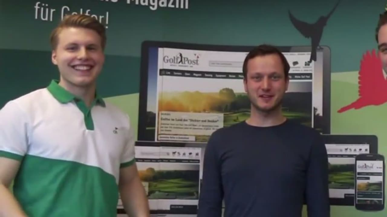 Marcus Schraufstetter (re) hilft dem Straighter Putter Rookie of the Year, Tobias Schweizer (li), sein Handicap in einem Jahr so weit wie möglich zu verbessern. (Foto: Screenshot Youtube.com/GolfPost)