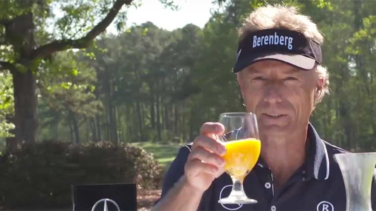 Bernhard Langer empfiehlt eine gesunde Mahlzeit vor der Runde. (Foto: Screenshot YouTube.com)