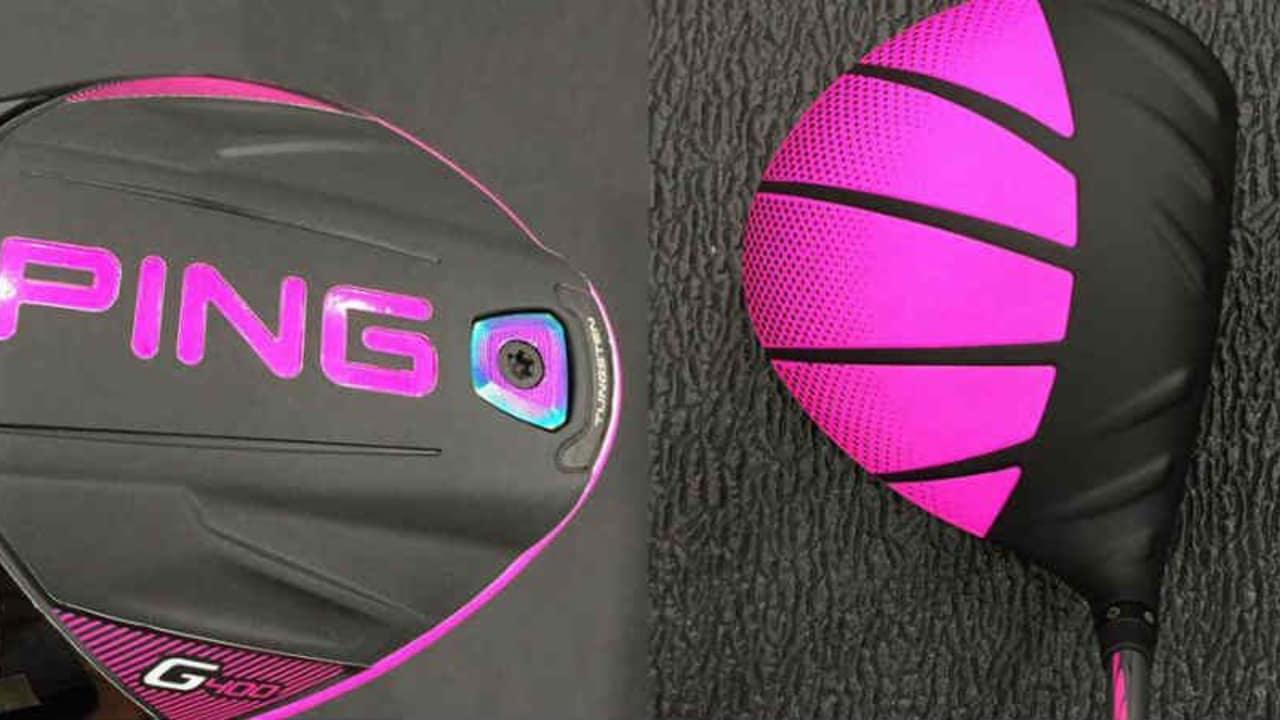Pretty in Pink: Bubba Watson mit dem neuen Ping G400 gesichtet. (Foto: Twitter/@golf_com)