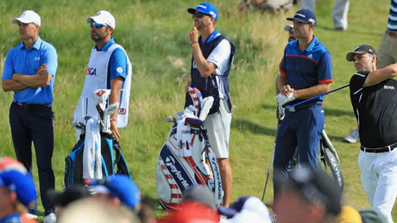 Die drei letzten US-Open-Sieger, Martin Kaymer, Jordan Spieth und Dustin Johnson standen am ersten Tag der 117. US Open in Erin Hills im Mittelpunkt. (Foto: Getty)
