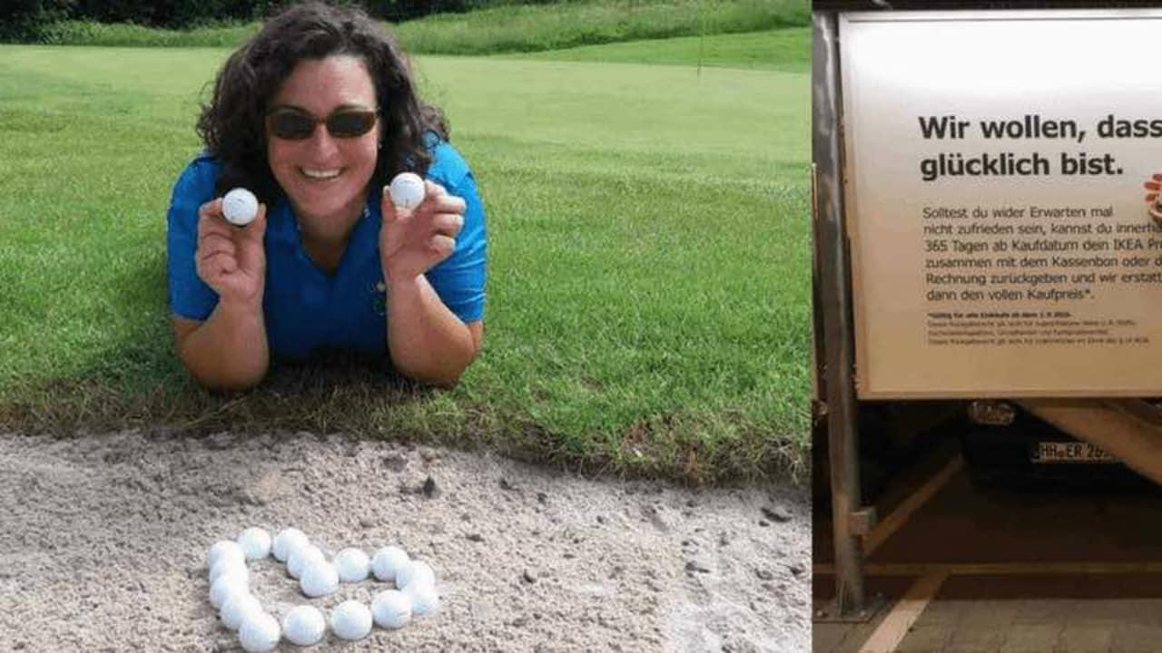 Nur zwei der zehn Golf Post Golfball Produkttester, die sich mit dem TaylorMade TP5 und TP5x zufrieden ablichten ließen. (Foto: Nicole Fuchs/Christian Lübcke)