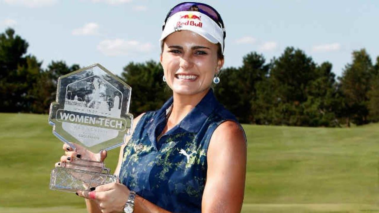 Lexi Thompson ist die strahlende Siegerin bei der Indy Women in Tech Championship. (Foto: Getty)