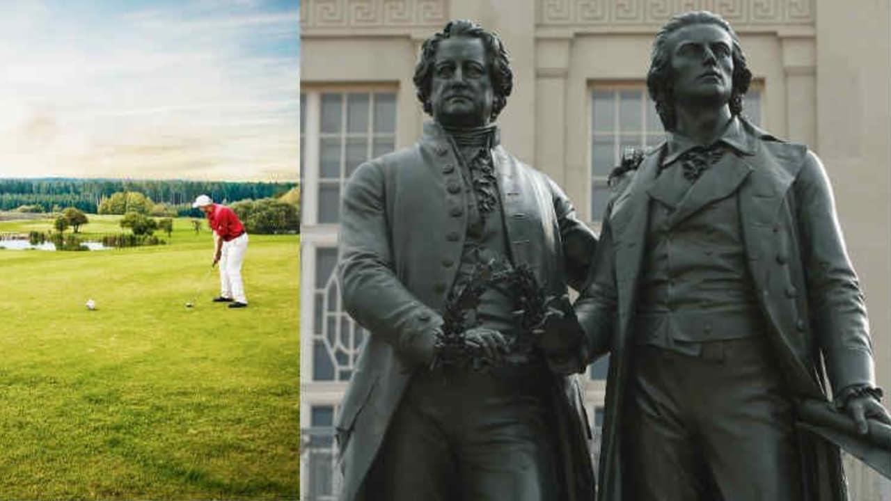 Golf oder Goethe? Warum nicht beides? (Foto: Facebook/@GolfresortWeimarerLand und Getty)