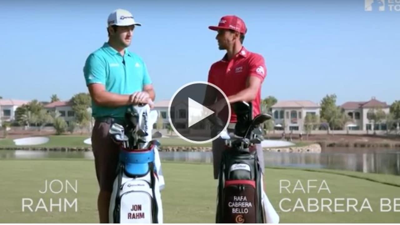 Jon Rahm (re.) gegen Rafael Cabrera Bello (li.) im Wettstreit bei der 14 Club Challenge in Dubai. (Foto: YouTube / European Tour)
