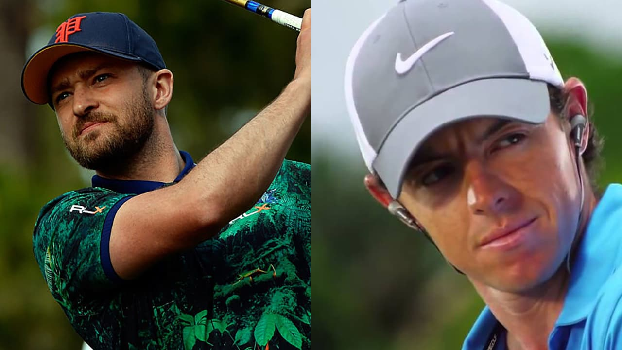 Justin Timberlake (l.) ist einer der weltweit bekanntesten Musiker und liebt Golf. Bei Rory McIlroy ist es genau andersherum. (Foto: Getty / Screenshot YouTube)