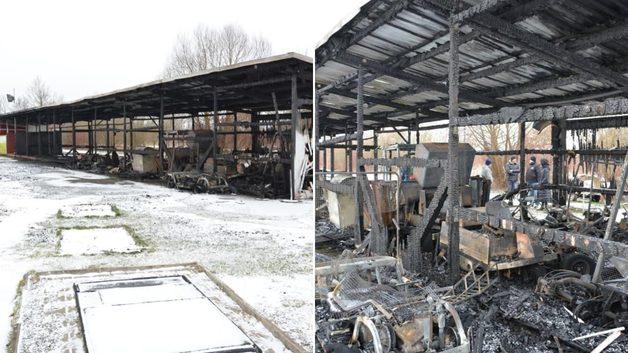 Die Gerätehalle und die überdachten Abschläge sind komplett ausgebrannt. (Foto: CityGolf)