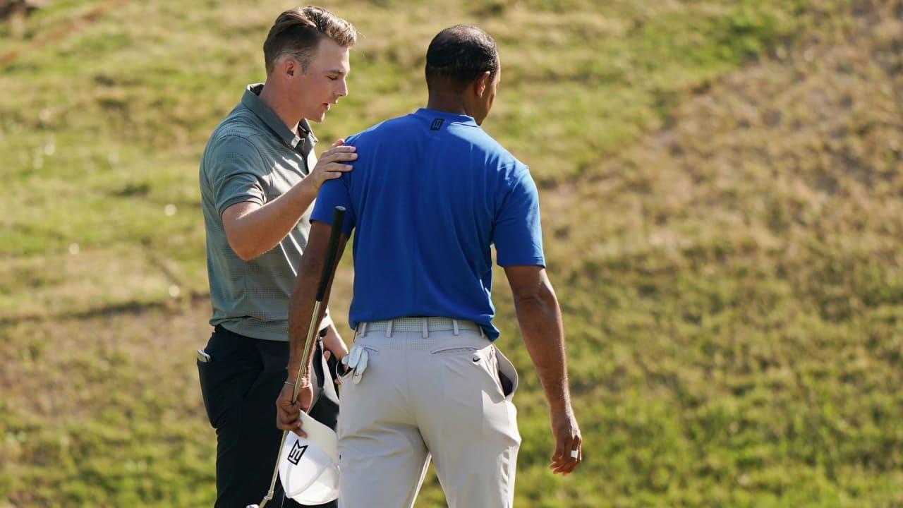 Aaron Wise (links) und Tiger Woods (rechts) nach ihrer Partie der ersten Runde des World Golf Championship - Dell Technologies Match Play 2019 in Austin. (Foto: Getty)