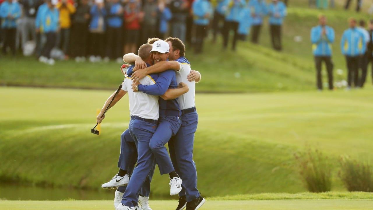 Teamplayer statt Einzelkämper - So emotional feierte das europäische Team seinen Sieg im letzten Jahr (Foto: Getty)