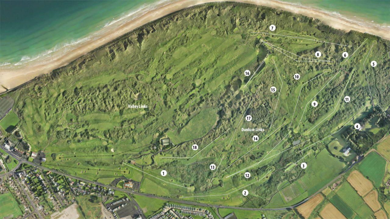 Der Royal Portrush Golf Club von oben. (Bildquelle: Royal Portrush)