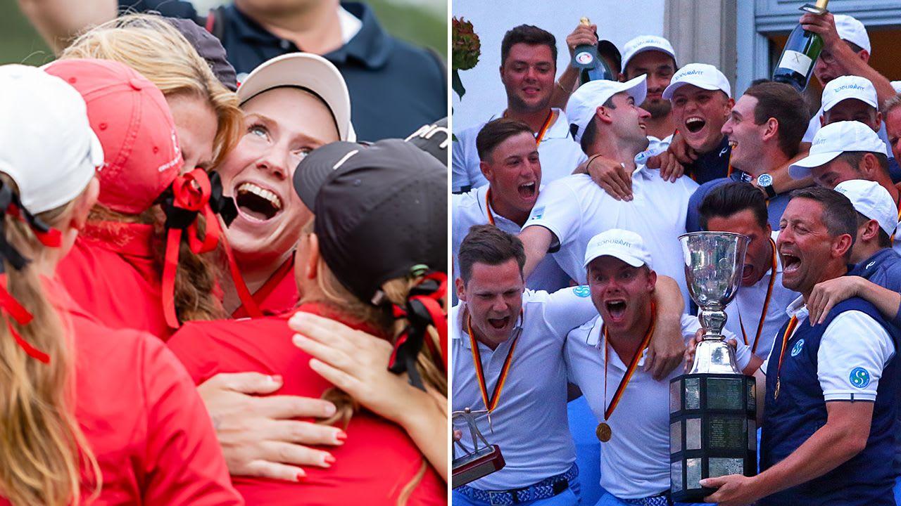 St- Leon-Rot (Damen) und Stuttgart (Herren) feiern den Gewinn der Deutschen Mannschafts Meisterschaft im Final Four der Deutschen Golf Liga. (Foto links: DGV/Thiess, Foto rechts: DGV/Stebl)