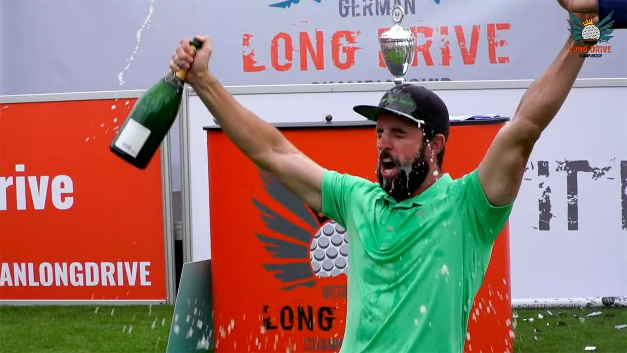 Robin Horvath gewinnt das Grand Final der German Long Drive Championship 2019. (Foto: Screenshot YouTube)