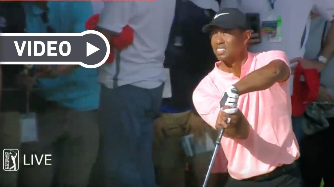 Die besten Schläge von Tiger Woods im Video. (Foto: Youtube/PGA Tour)