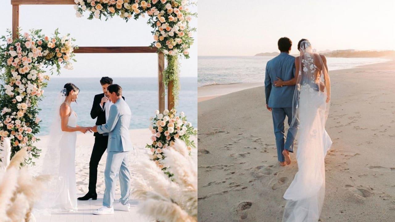 Rickie Fowler heiratete seine Freundin Allison Stokke am Strand. (Instagram.com/@rickiefowler)
