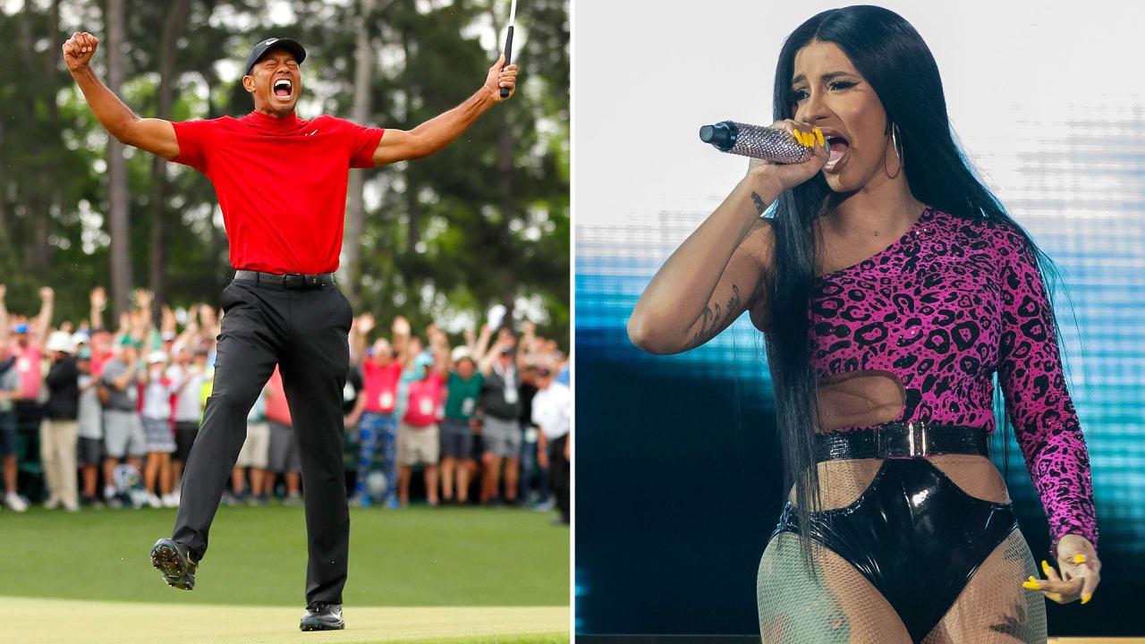 Rapperin Cardi B (rechts) will ihr nächstes Album nach Tiger Woods benennen. (Fotos: Getty)