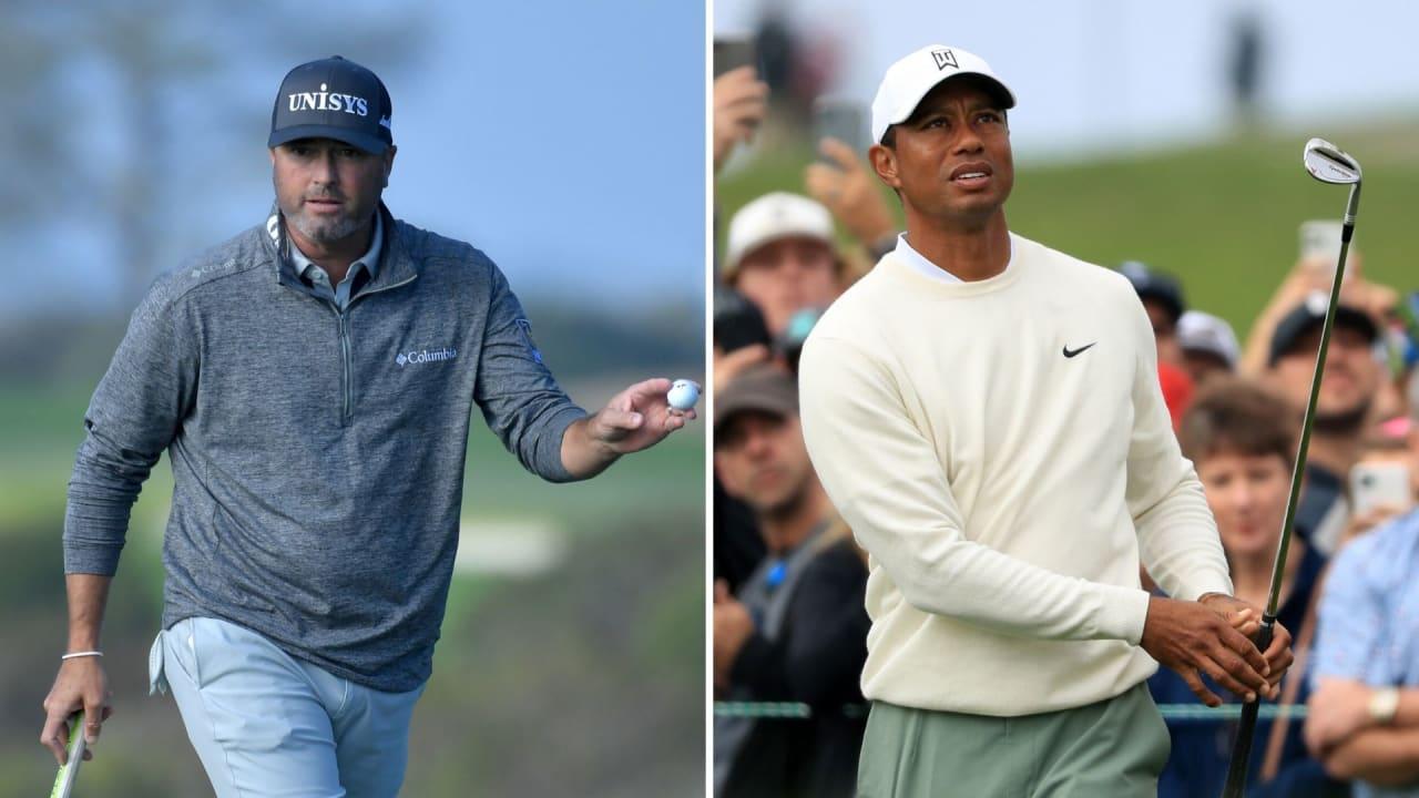 Ryan Palmer und Tiger Woods bei der Farmers Insurance Open 2020. (Foto: Getty)