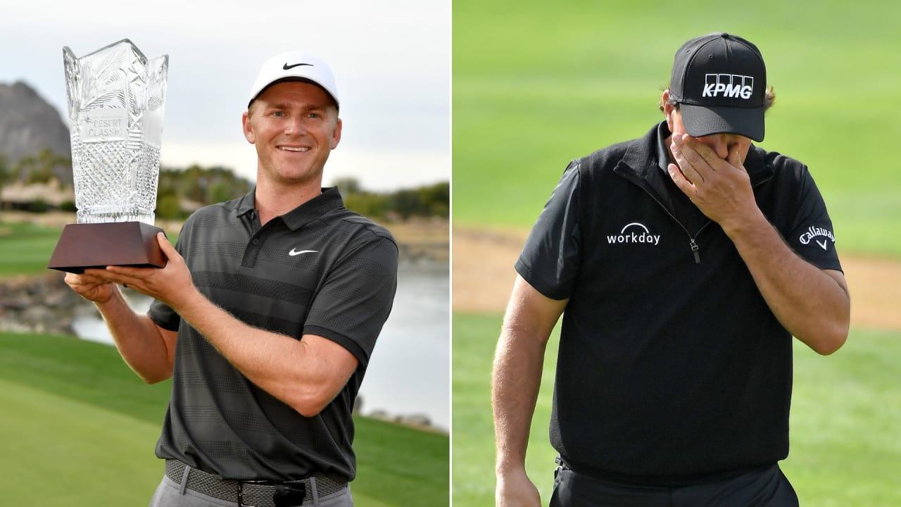 Adam Long jubelt über seinen ersten Sieg auf der PGA Tour, Phil Mickelson hadert mit seinen Putts. (Foto: Getty)