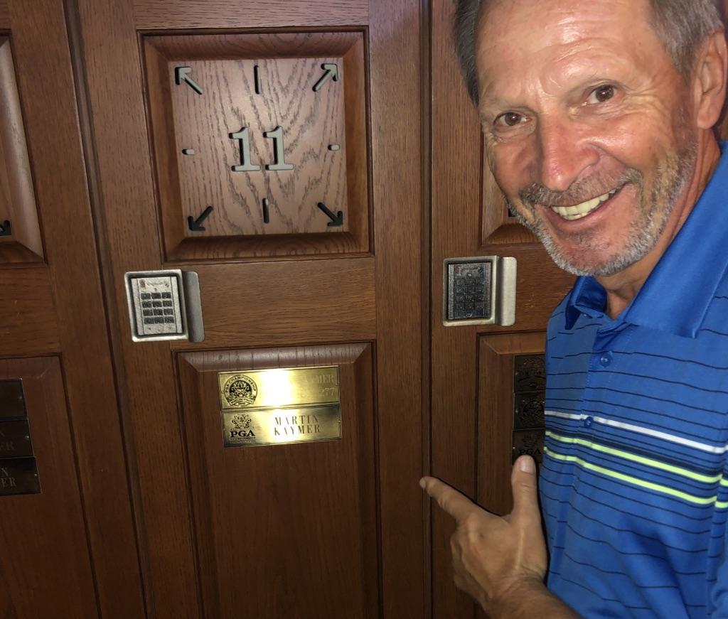 Martin Kaymer's Spind im Locker Room des Whistling Straits Courses. (Foto: Jürgen Linnenbürger)