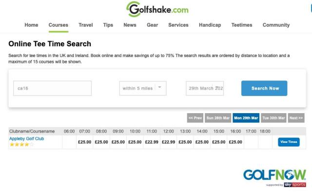Golfshake Online Tee Times
