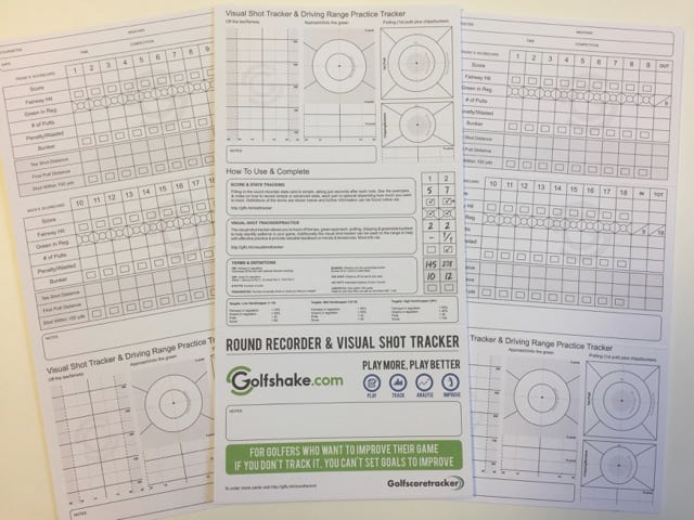 Golfshake score & stat tracker cards plus visual shot tracking and practice aid