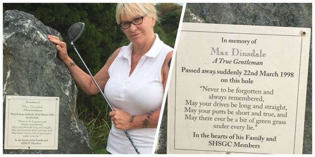 magnificent stone plaque stands in memory of Uncle Max