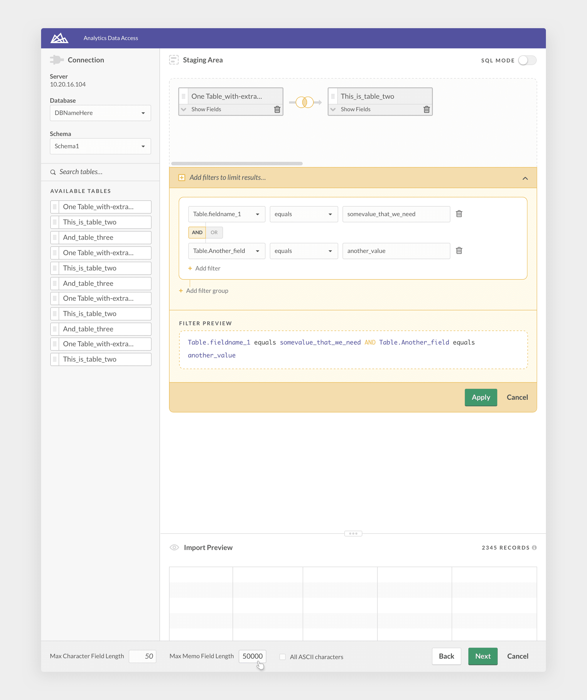 Adding filters to control the contents of the result set