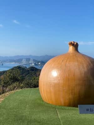 沼島から淡路島に渡り、徳島空港へ向かう  途中「うずの丘」で玉ねぎのお土産...