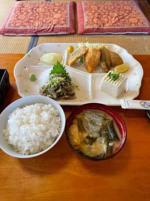 お昼は食事処『斉』  おすすめの鯵のたたきとフライ 脂乗っててめっちゃ美味い!