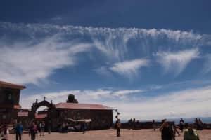 チチカカ湖のペルー側! 空が近い!