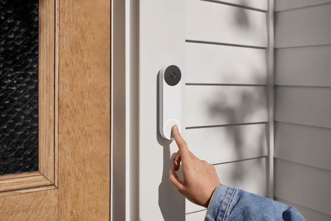 someone ringing a google nest doorbell