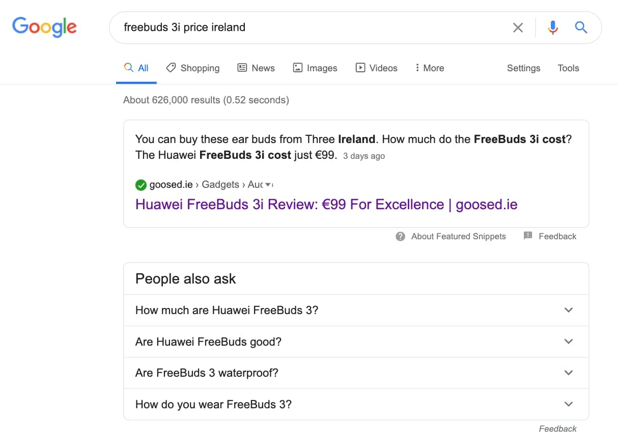 goosed featured snippet