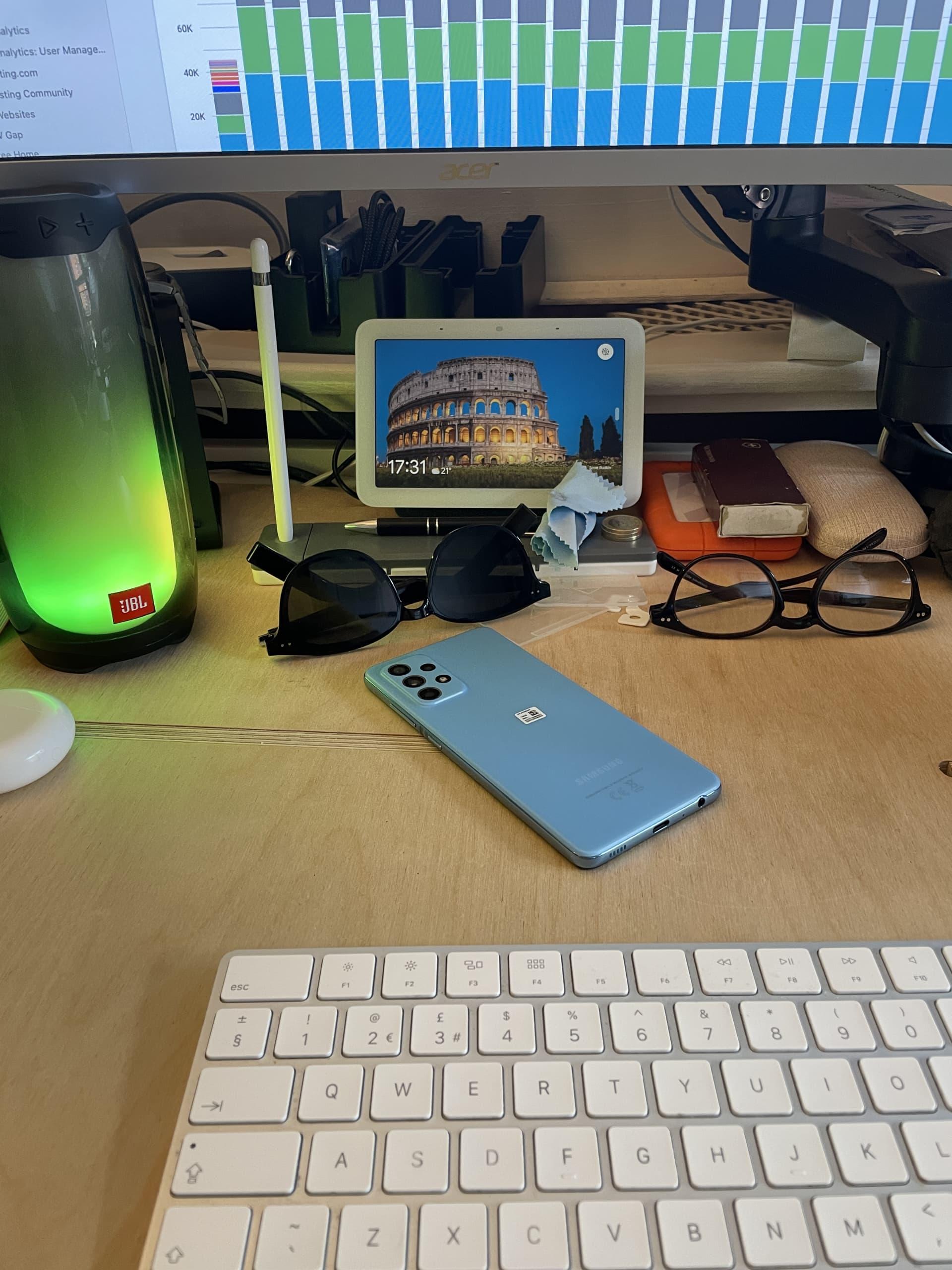 my desk with the google nest hub