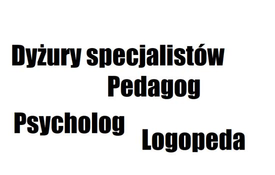 Godziny pracy szkolnych specjalistów: psychologa, pedagoga i logopedy