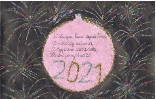 """Sukcesy uczniów naszej szkoły w  Gminnym konkursie  plastycznym pt. """" Moja noworoczna kartka i życzenia na Nowy 2021 Rok """""""