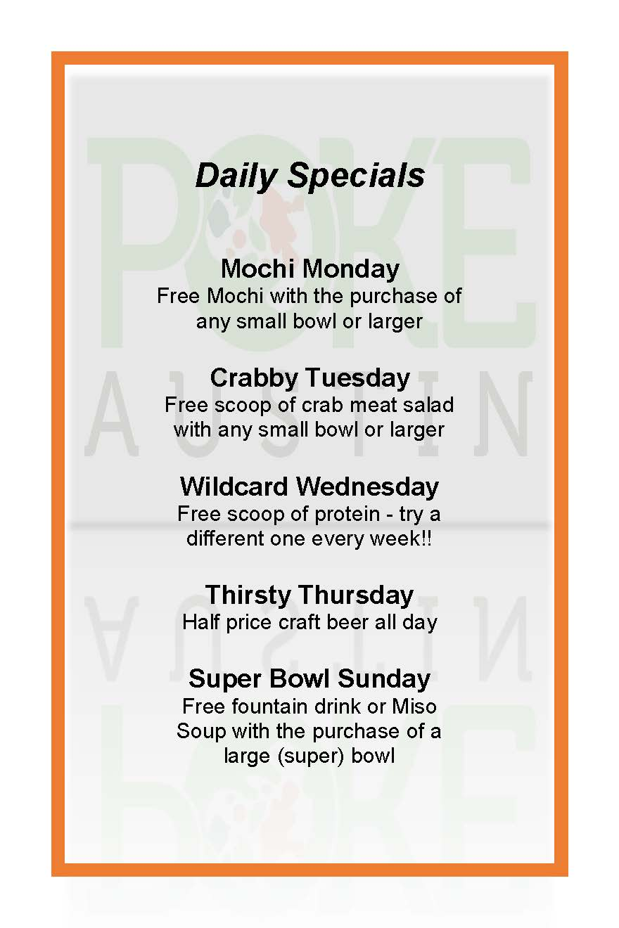 Check out our Daily Specials