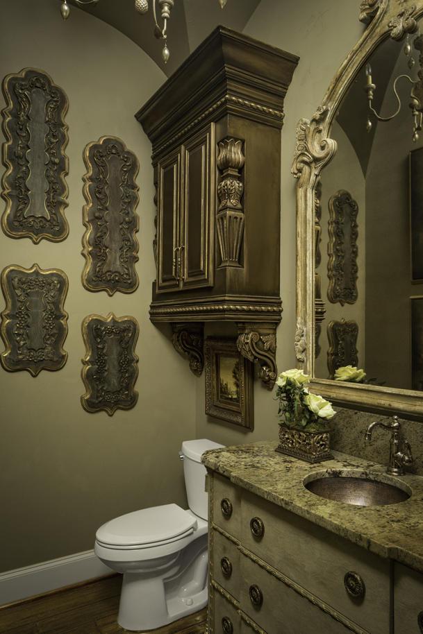 french country half bathroom interior design