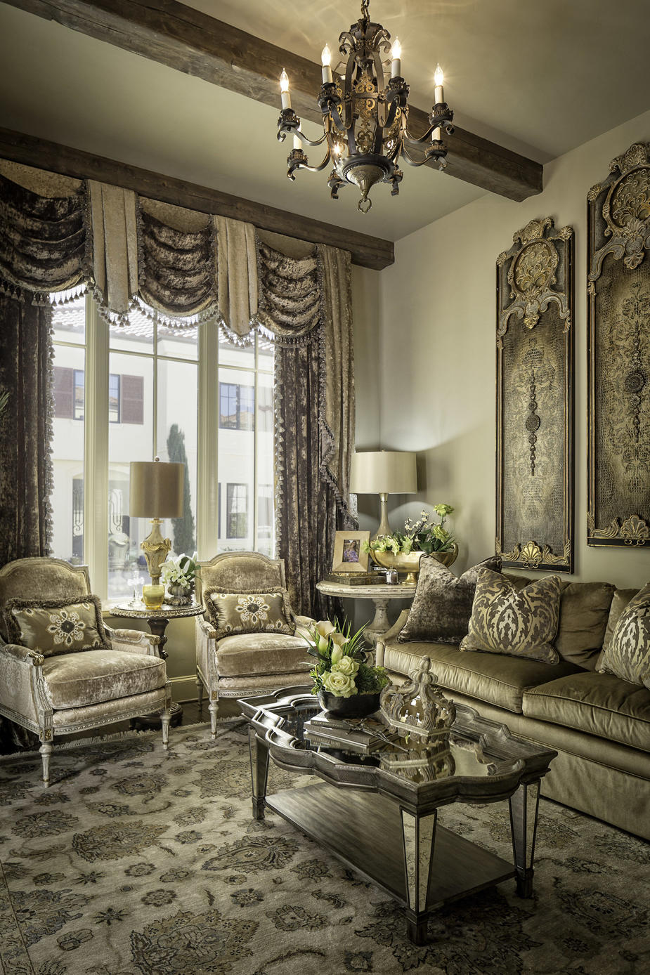 french country living room and custom furniture
