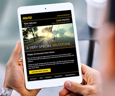 image of the hertz customer loyalty program on an ipad