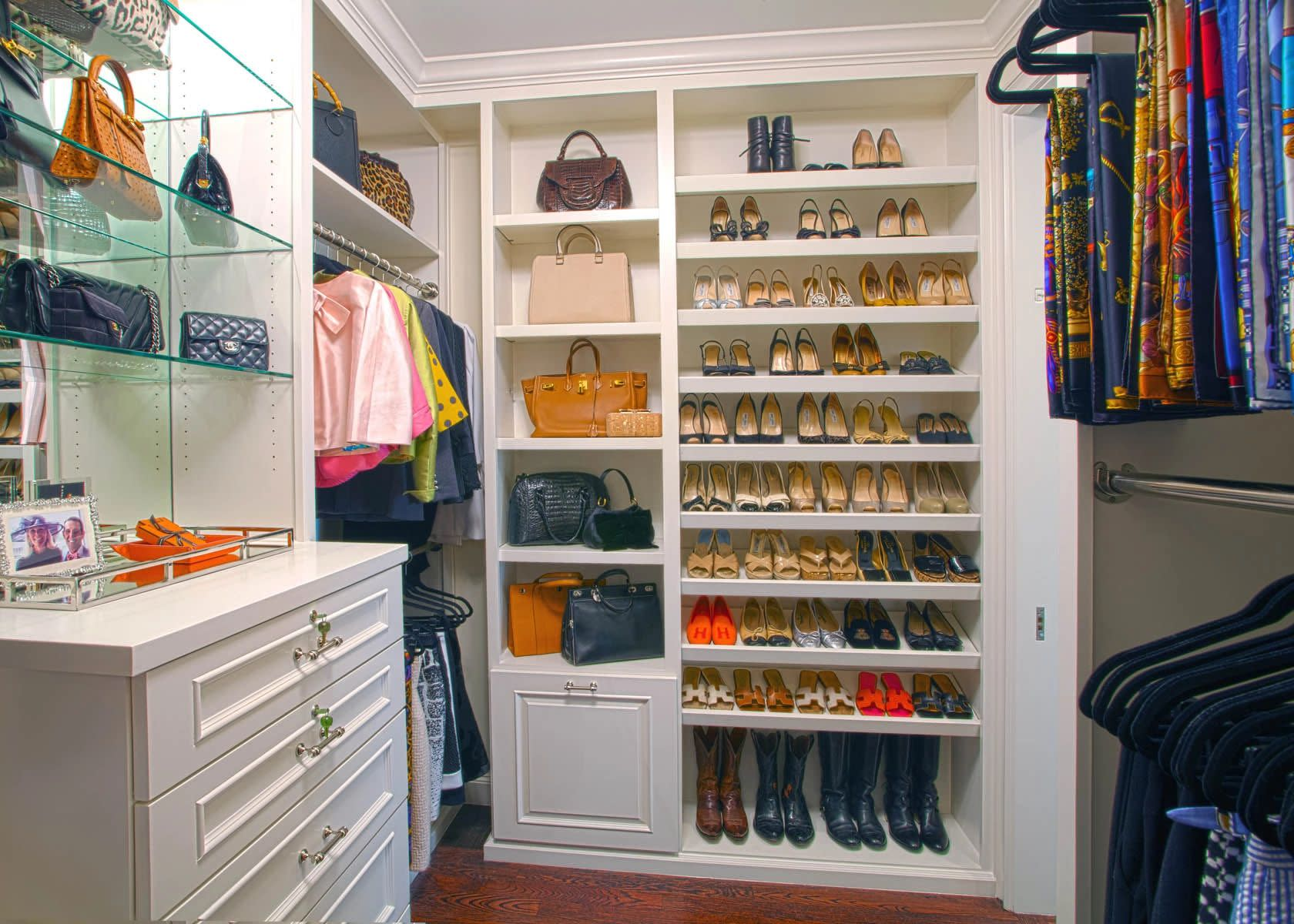 white custom built closet
