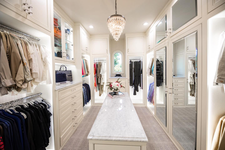 custom designed closet with island