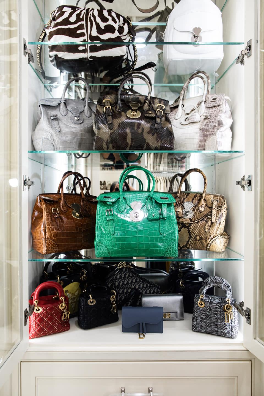 closet cabinetry with handbag display