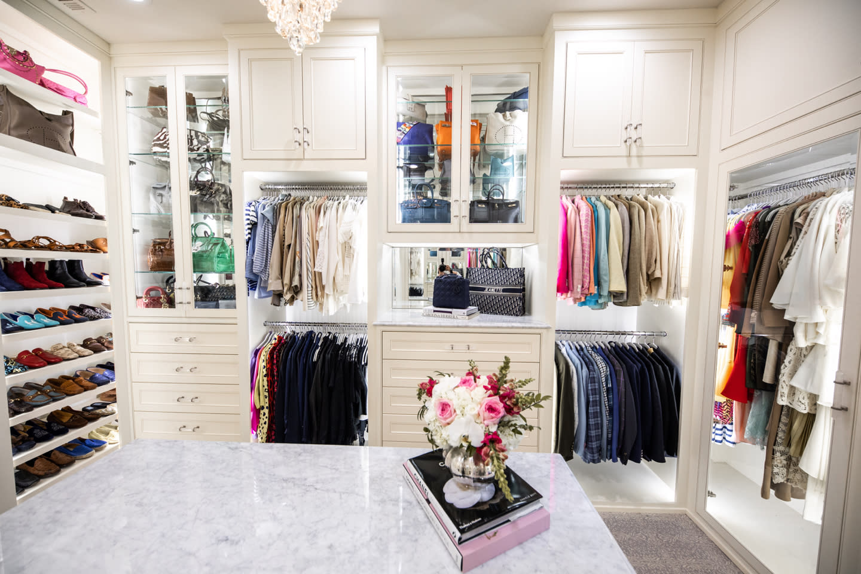 white closet with LED lighting