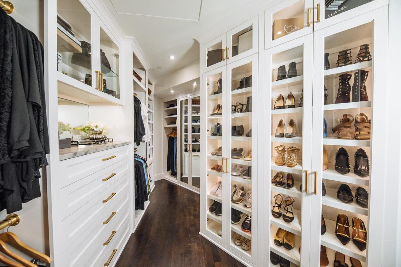 custom closet with shoe shelving