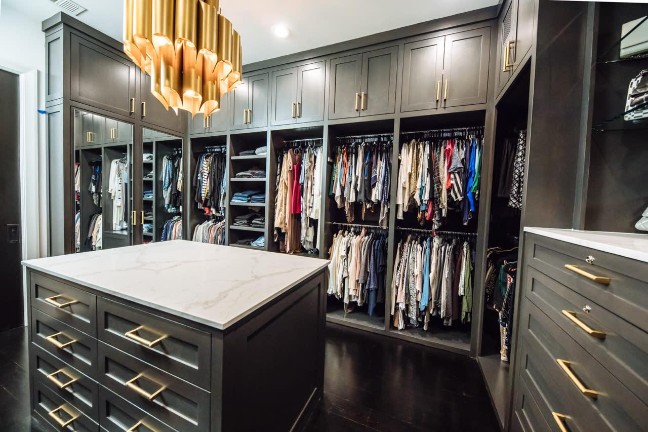 grey painted master closet